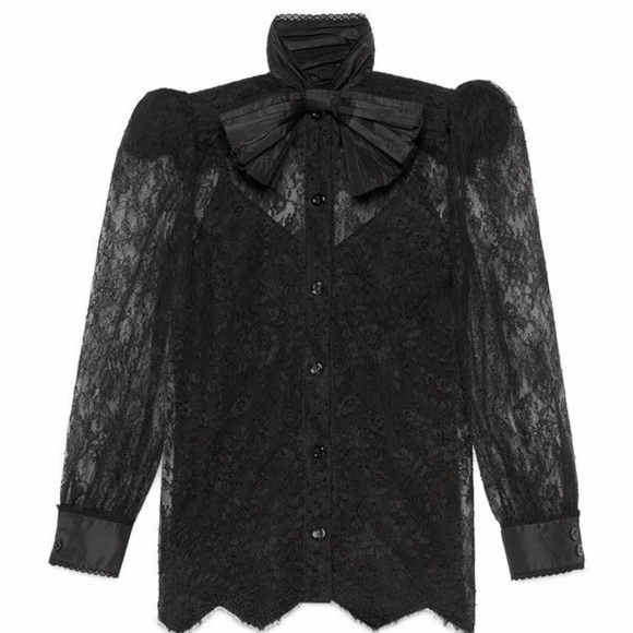 30164378 Gucci Tops | Chantilly Lace Button Down Blouse Wbow | Poshmark